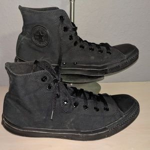 All Black High Top Mens Converse Sneakers Size 12